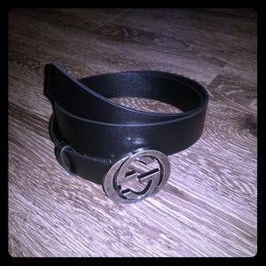 Authentic Gucci Black Leather GG Belt